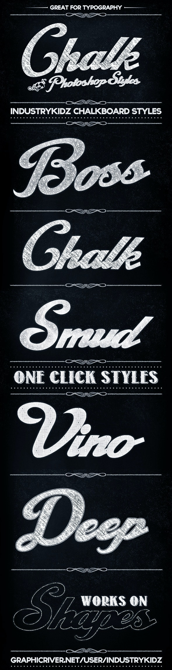 Chalkboard Photoshop Layer Styles - Text Effects Styles