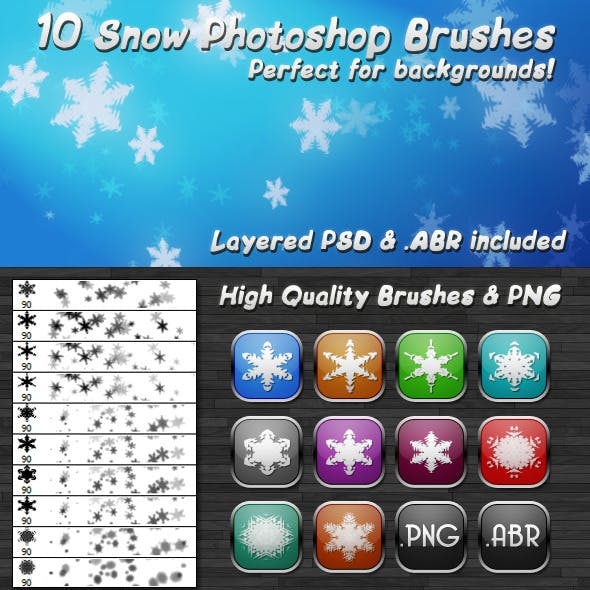 10 Hi-Quality Snow Flakes Brushes