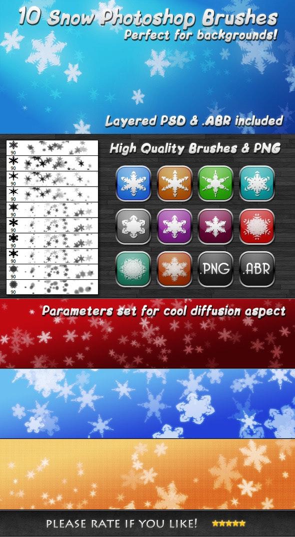 10 Hi-Quality Snow Flakes Brushes - Brushes Photoshop