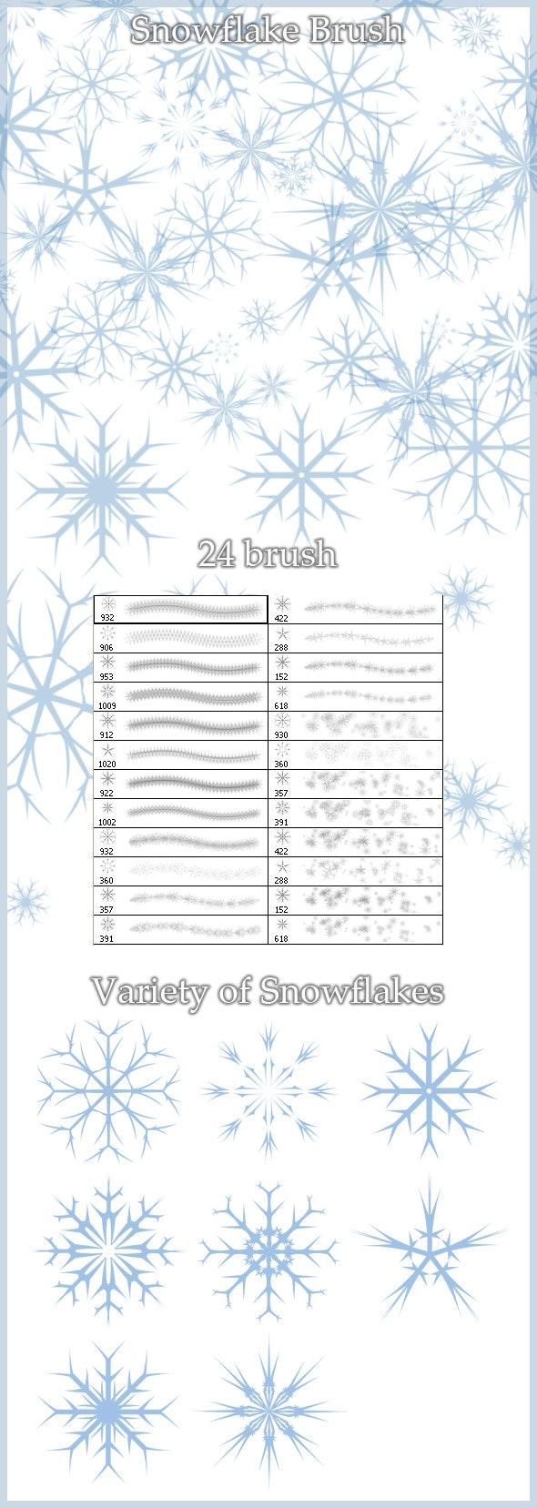 24 Snowflakes Brush - Flourishes Brushes