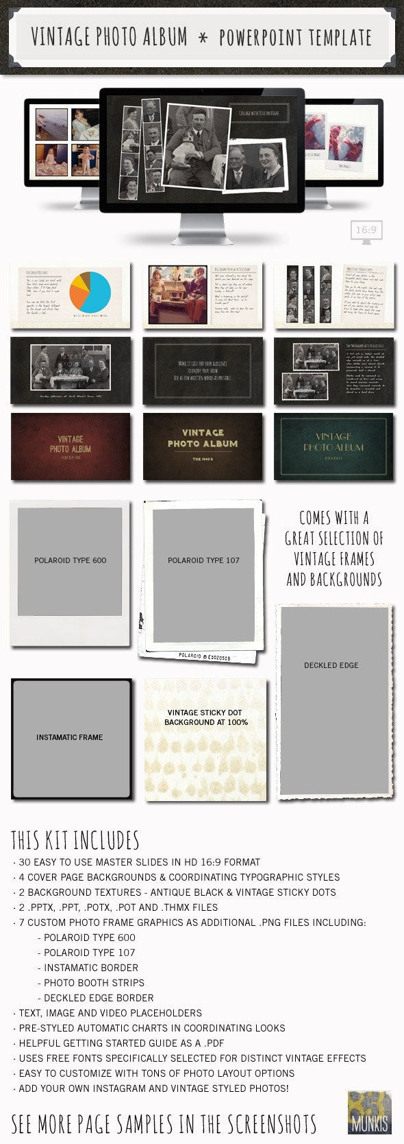 Vintage Photo Album Powerpoint Template - PowerPoint Templates Presentation Templates