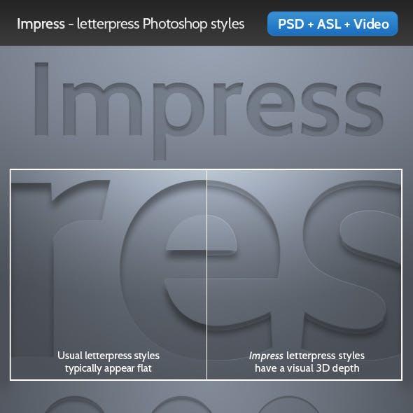 Impress - Letterpress Photoshop Text Style
