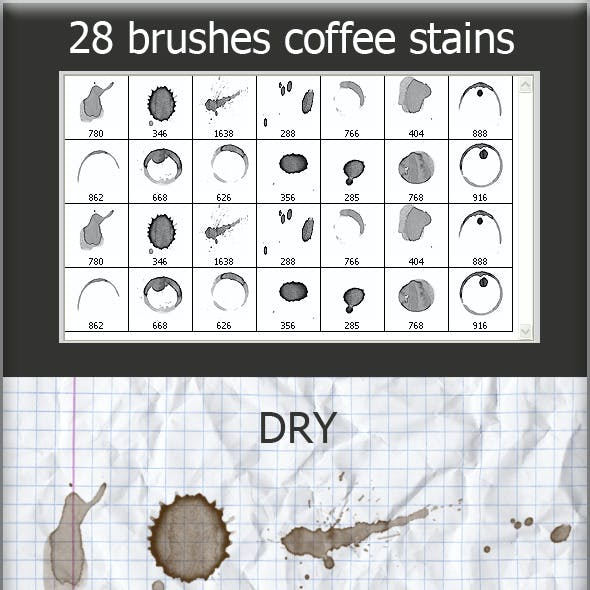 28 Brushes Coffee Stains (Wet and Dry)