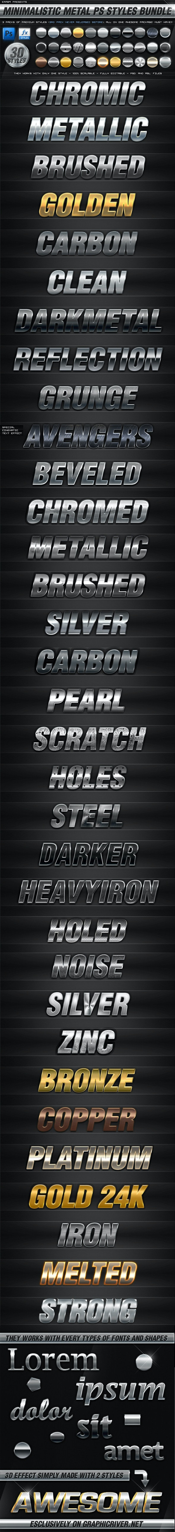 BUNDLE - 30 Minimalistic Metal PS Styles