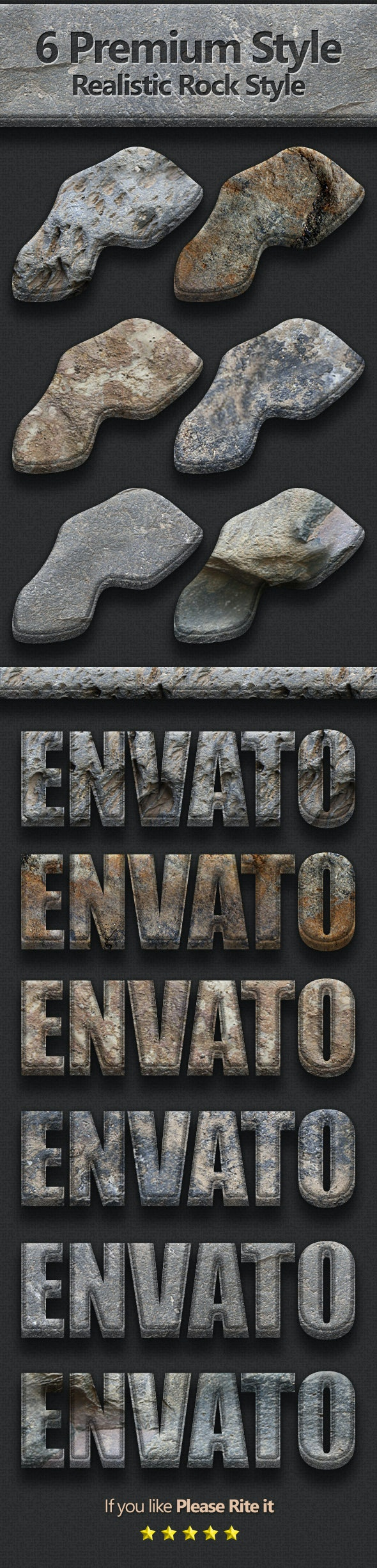 6 Premium Realistic Rock Style - Text Effects Styles