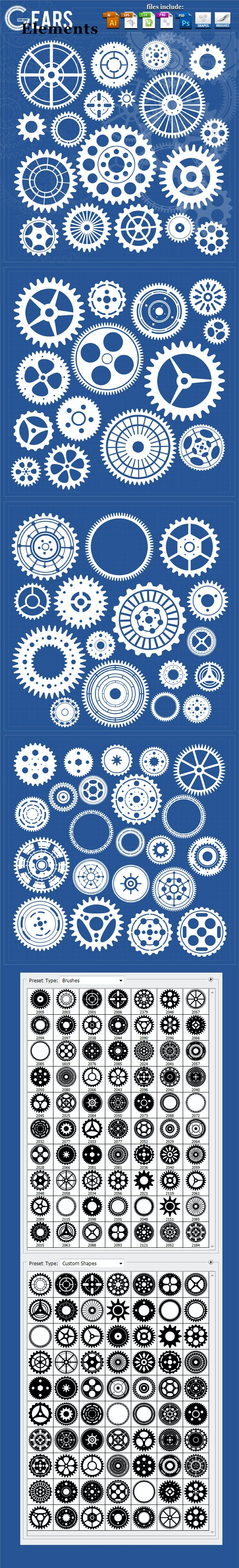 70 Gears Elements  - Objects Shapes