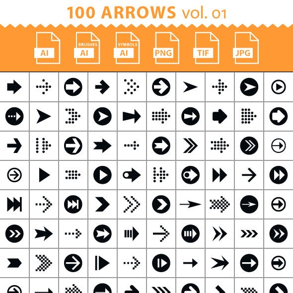 100 Arrow Set. Volume 01. Brush Library