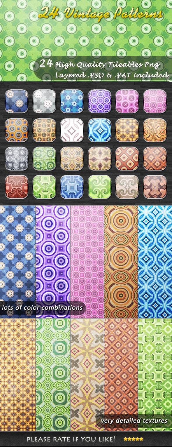24 Tileable Vintage Patterns - Abstract Textures / Fills / Patterns