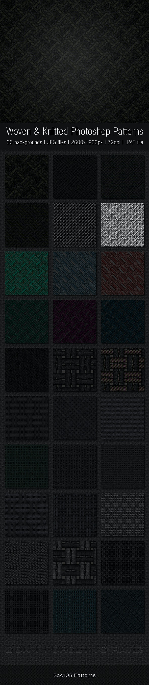 Woven and Knitted Photoshop Patterns - Abstract Textures / Fills / Patterns