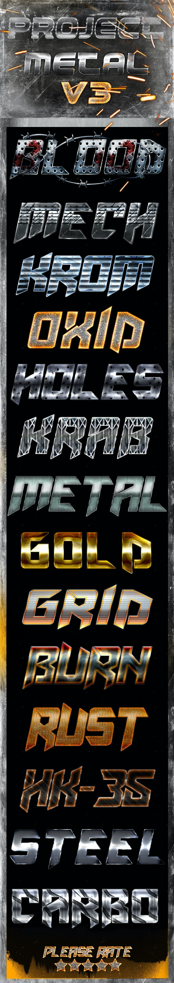 Project Metal V3 - Photoshop Text Styles - Text Effects Styles