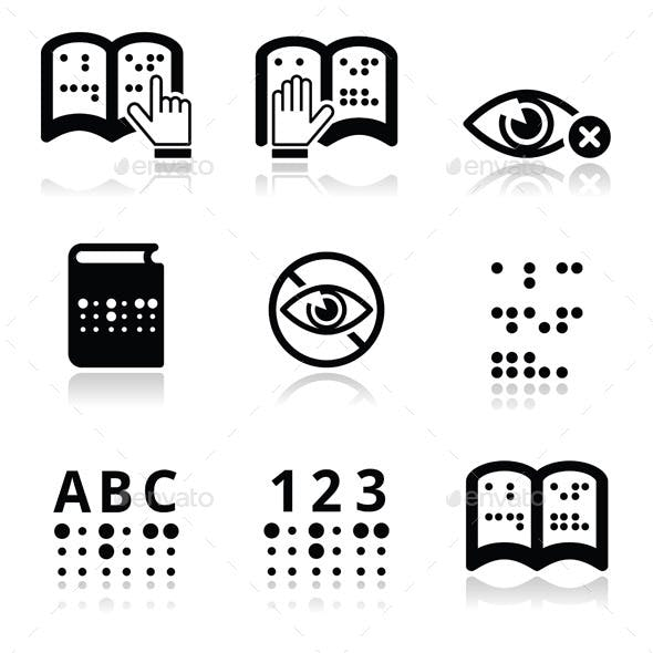 Blindness, Braille Writing System Icon Set