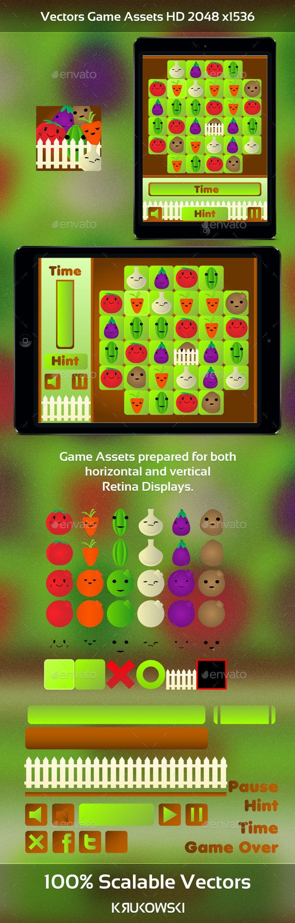 Vegetables Match 3 Game Kit - Game Kits Game Assets
