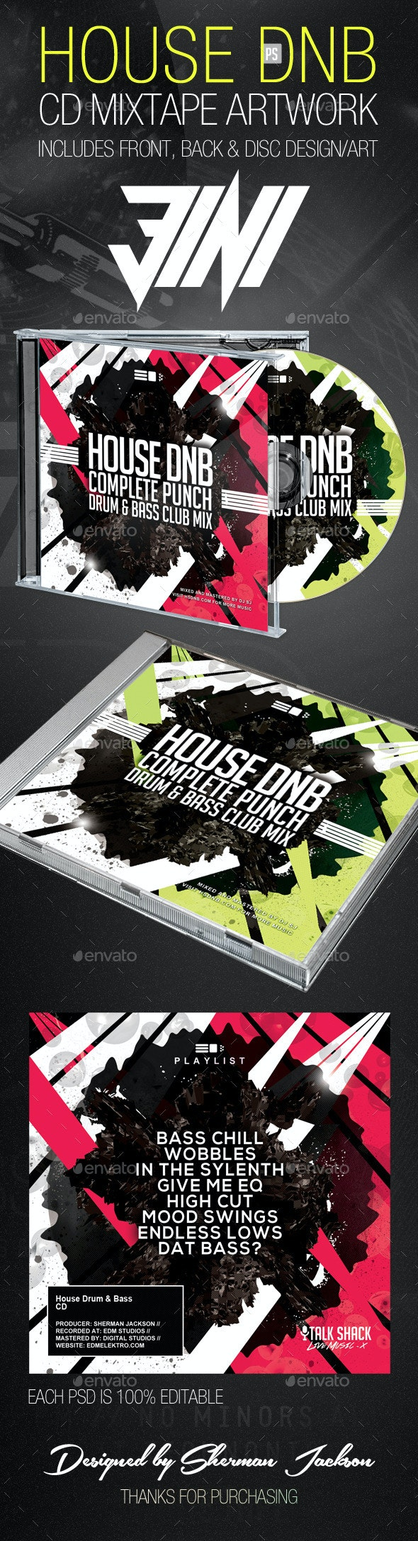 House Drum n Bass CD Artwork Template - CD & DVD Artwork Print Templates