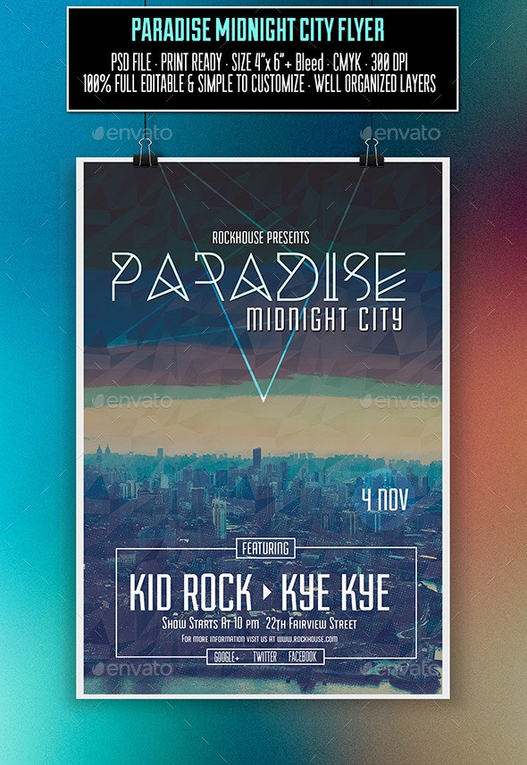 Paradise Midnight Flyer - Clubs & Parties Events