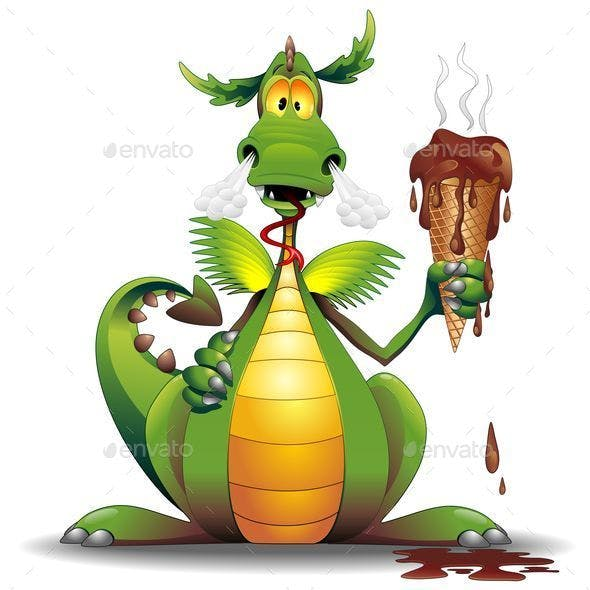 Dragon Cartoon with Melted Ice Cream
