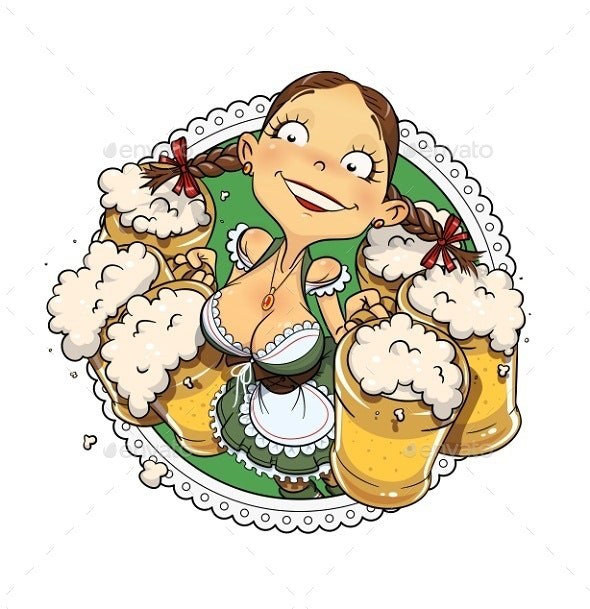 Oktoberfest Girl with Glass of Beer - People Characters