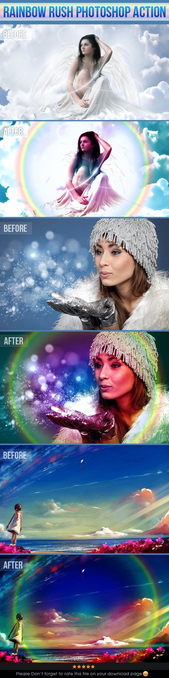 Rainbow Rush Photoshop Action - Photo Effects Actions