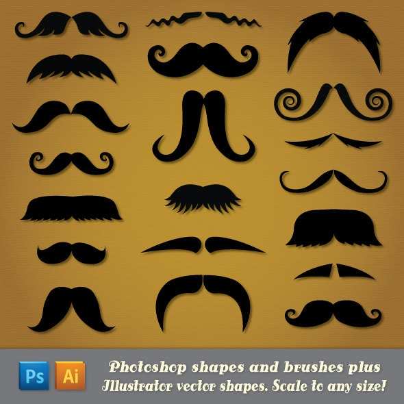 Moustache Custom Shapes - People Shapes