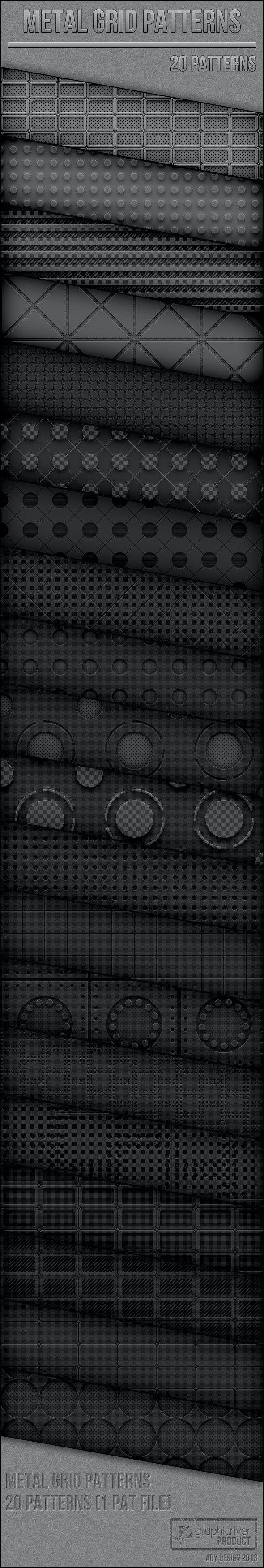 Metal Grid Patterns - Techno / Futuristic Textures / Fills / Patterns