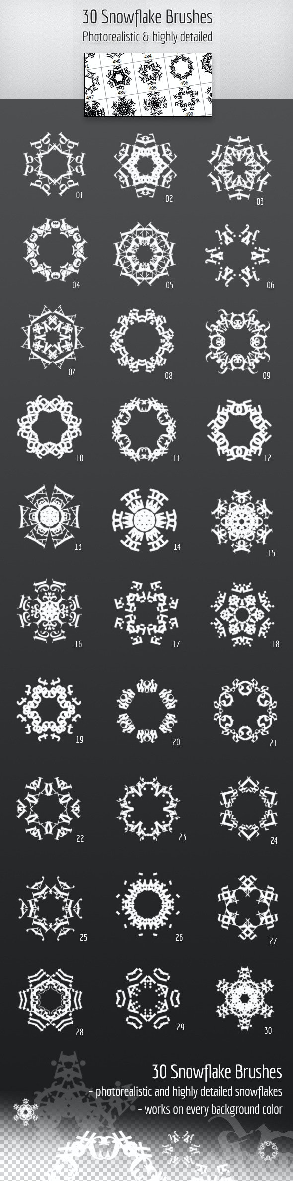 30 Highly detailed Snowflake Brushes - Miscellaneous Brushes