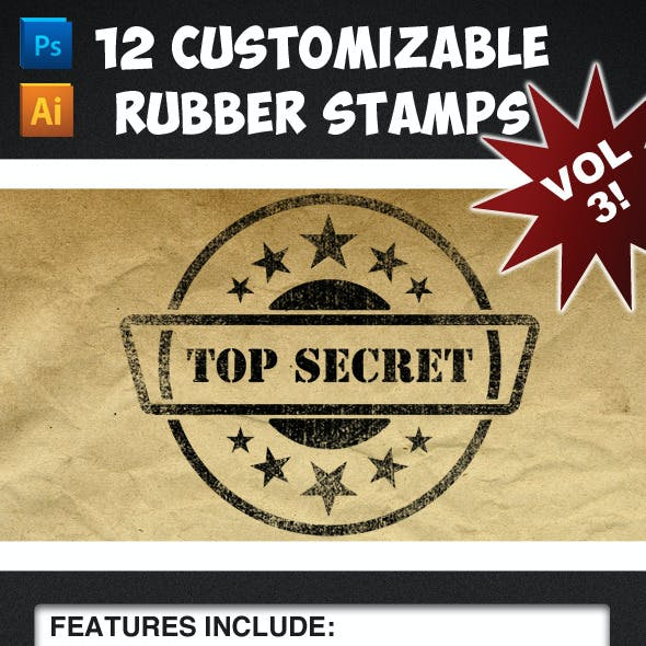 12 Customizable Rubber Stamps - Volume 3