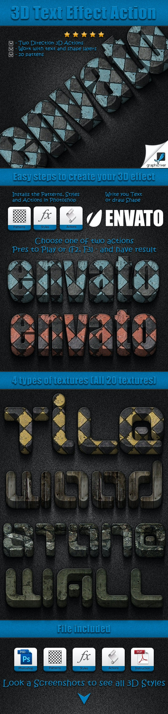 3D Text Effect Action - Text Effects Styles