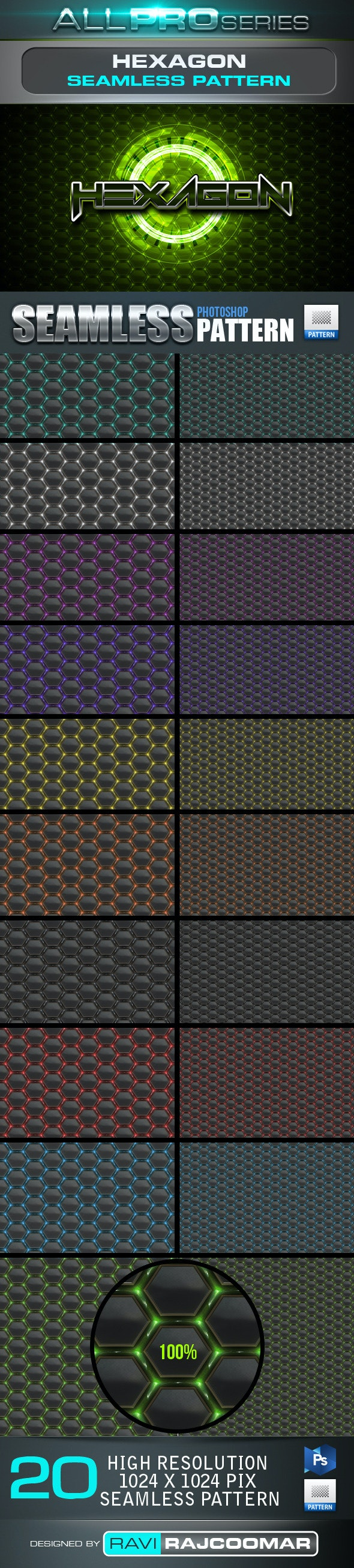 Hexagon Seamless Tileable Patter - Techno / Futuristic Textures / Fills / Patterns