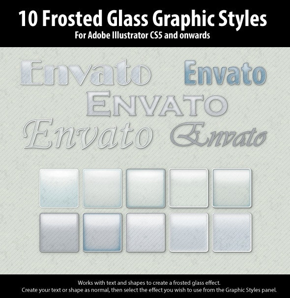10 Frosted Glass Graphic Styles for Illustrator - Styles Illustrator