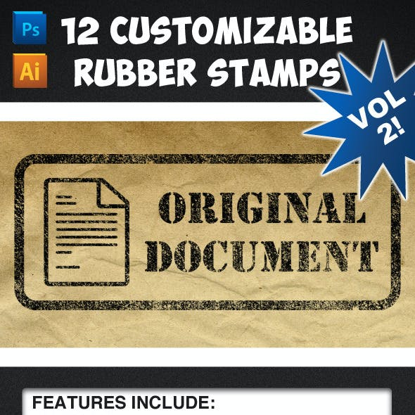 12 Customizable Rubber Stamps - Volume 2