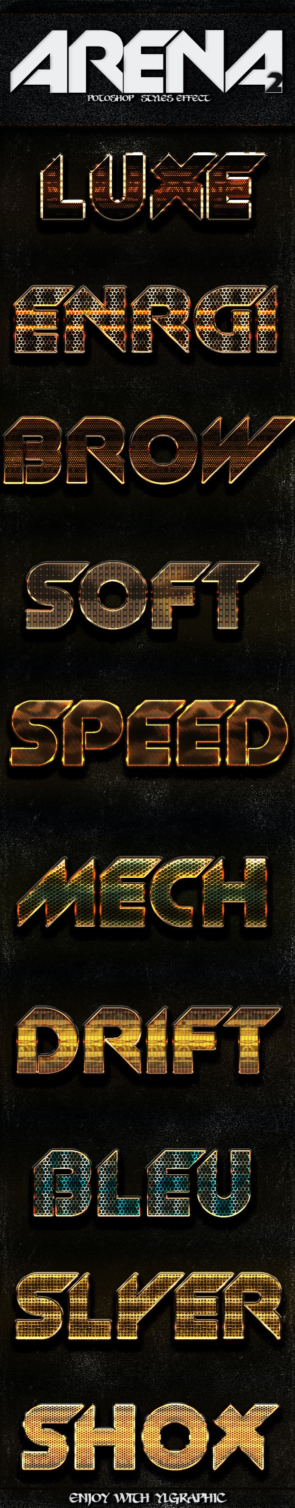 ARENA 2 Photoshop Layer Styles  - Text Effects Styles
