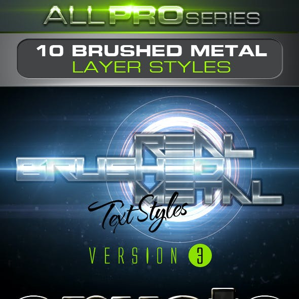 Real Brushed Metal Text Styles Vol.3