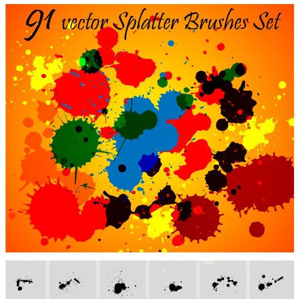 Splatter Brushes Set Vector