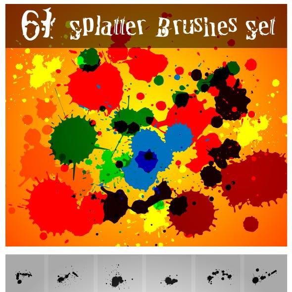 61 Splatter Brushes Set