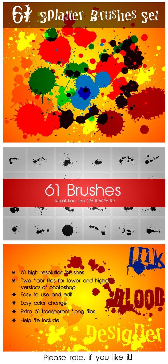 61 Splatter Brushes Set - Grunge Brushes