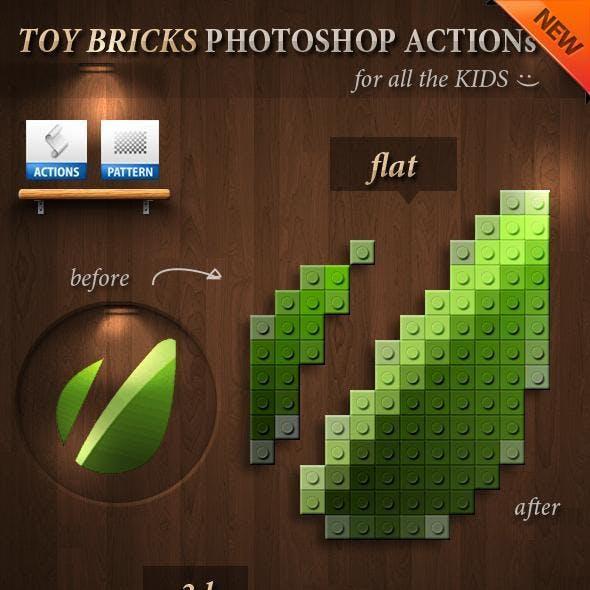 3D Toy Bricks Photoshop Actions