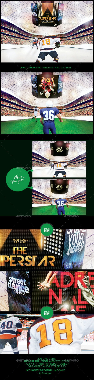 Ice Hockey & Football Mock-Up Template - Monitors Displays