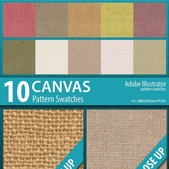 10 Canvas Texture Pattern Swatches