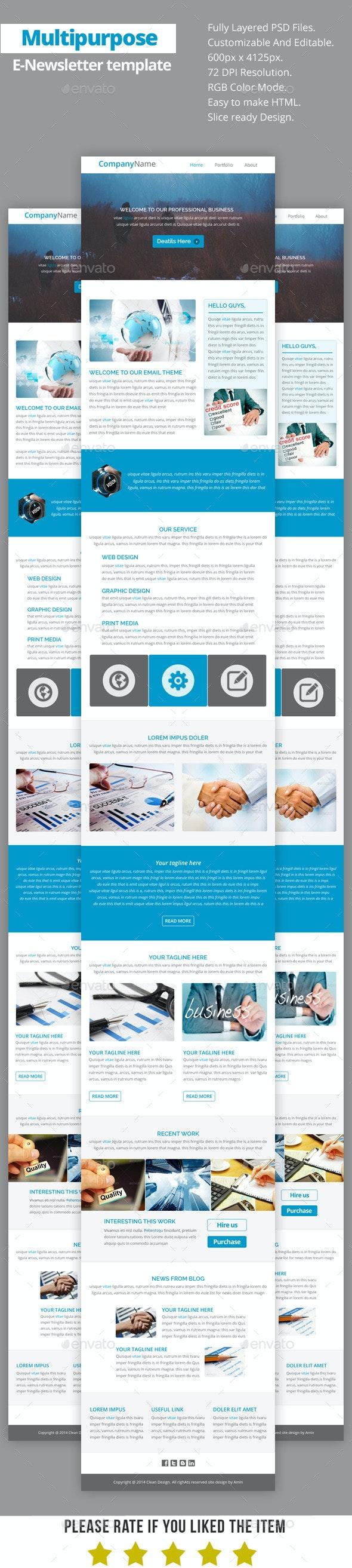 Multipurpose E-Newsletter Template V16 - E-newsletters Web Elements