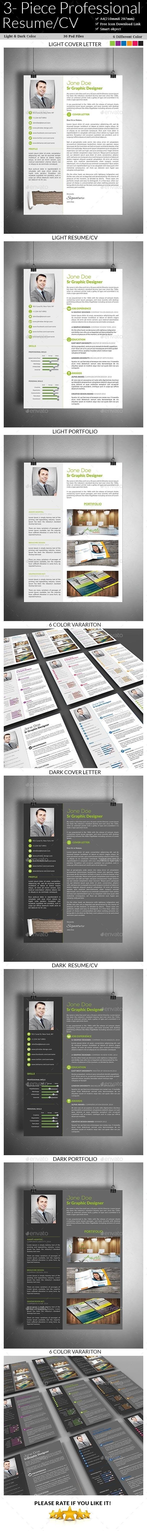 3- Piece Professional Resume/CV - Resumes Stationery