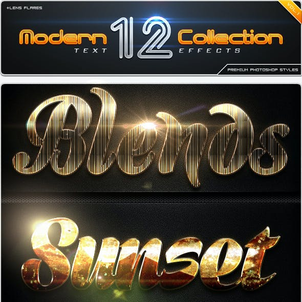 12 Modern Collection Text Effect Styles Vol.1