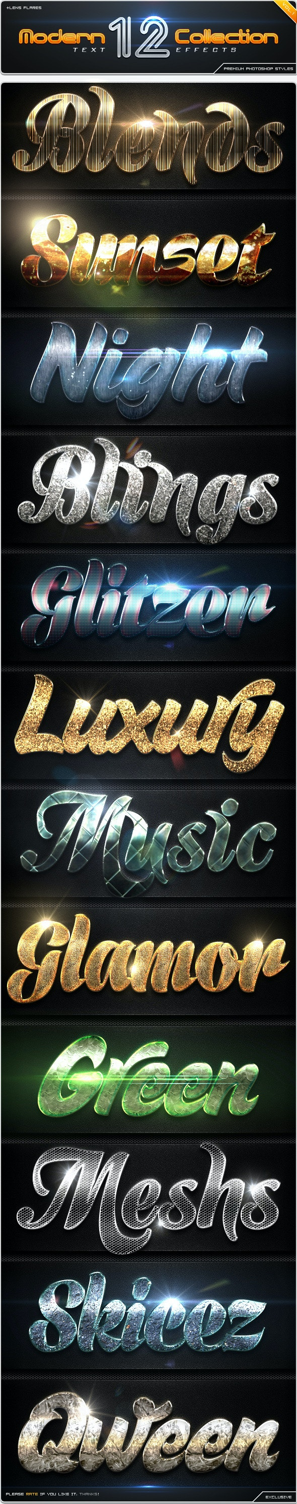 12 Modern Collection Text Effect Styles Vol.1 - Text Effects Styles