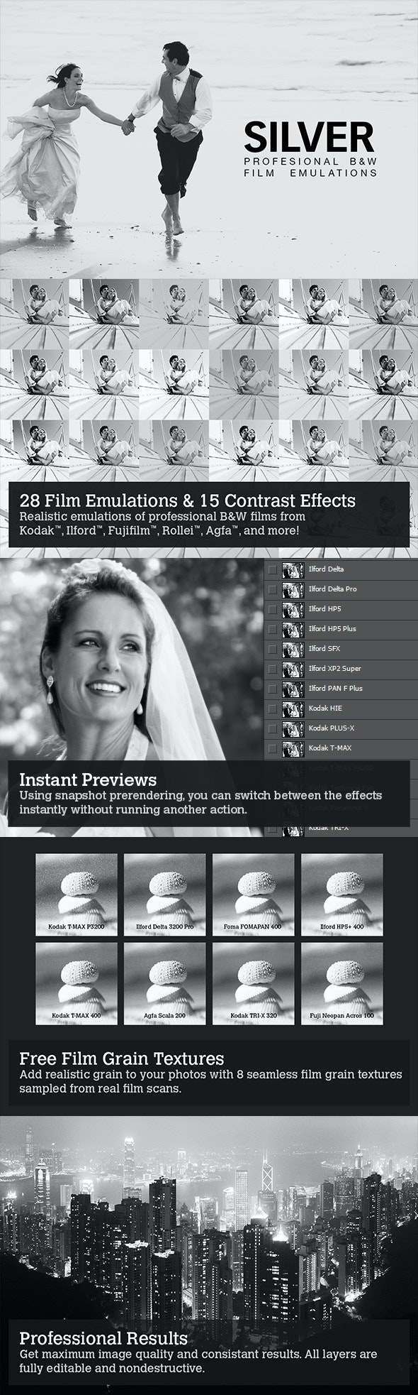 Silver - 28 B&W Film Emulations - Photo Effects Actions