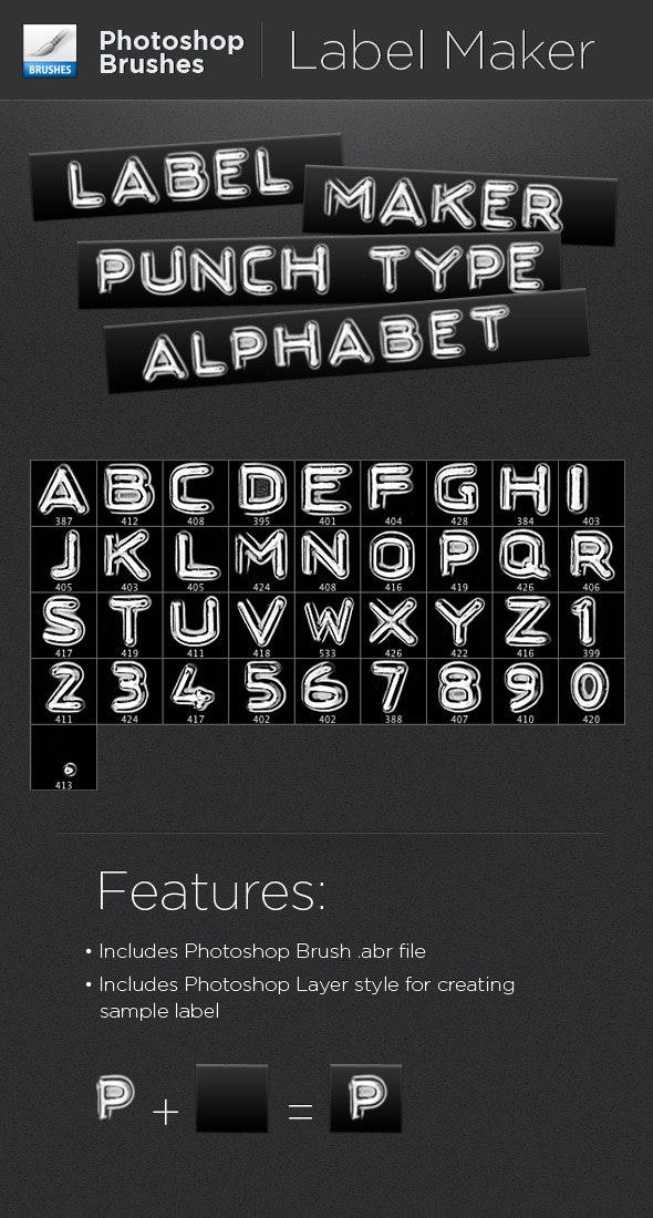 Label Maker Punch Type Alphabet - Brushes Photoshop