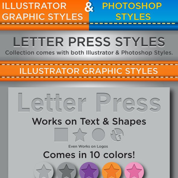 Letter Press Styles - Illustrator & Photoshop