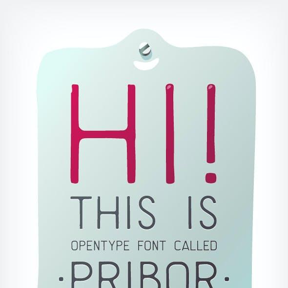 Pribor – Clean Lo-Fi Stencil Font With Cyrillic