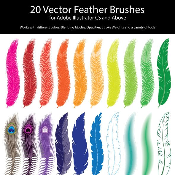 20 Vector Feather Brushes for Adobe Illustrator
