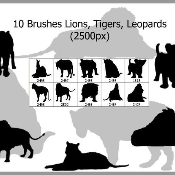 10 Brushes Lions Tigers Leopards (2500px)