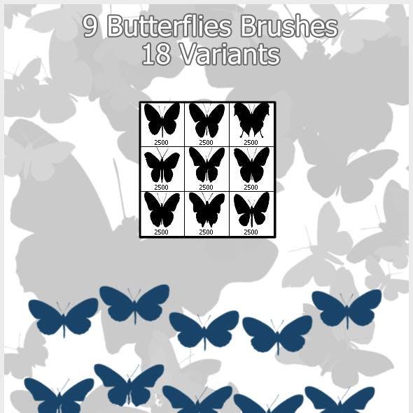 9 Butterflies Brushes (2500px)