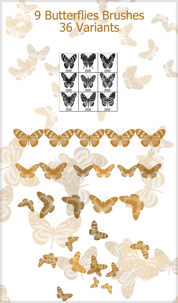 9 Butterflies Brushes (2500px) - Brushes Photoshop