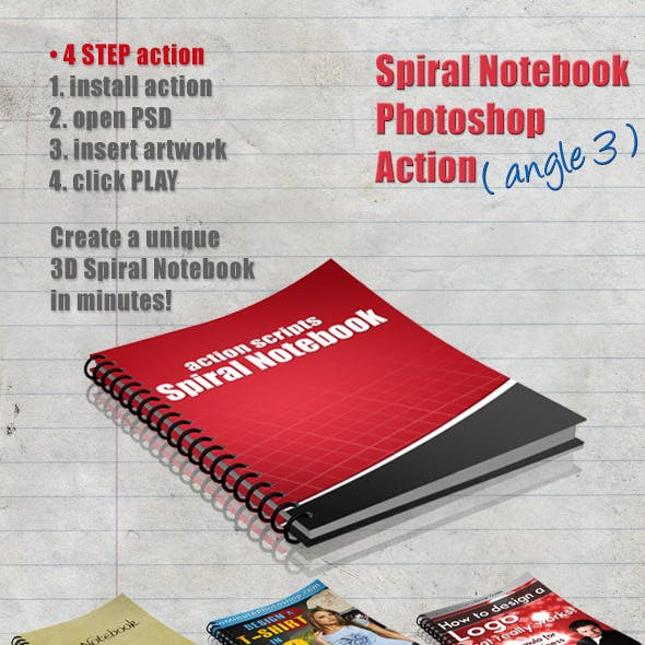 3D Spiral Notebook Action Script - Angle 3